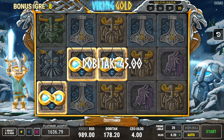Alama za sloti ya Viking Gold