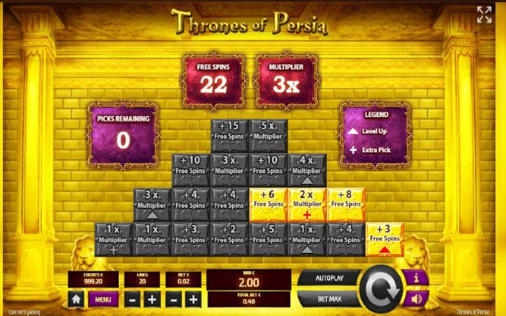 Thrones of Persia, Bonasi ya kasino mtandaoni