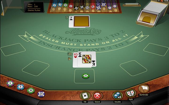 Atlantic City Blackjack Gold - chaguzi za mchezo