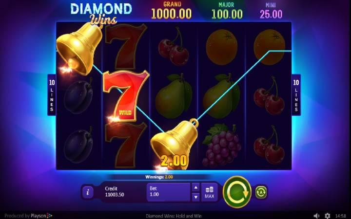 Alama za sloti ya Diamond Wins: Hold and Win