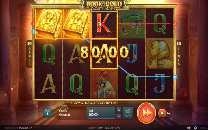 Alama za sloti ya Book of Gold: Double Chance