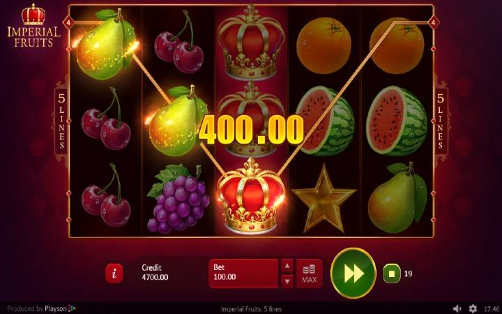 Alama za sloti ya Imperial Fruits: 5 Lines