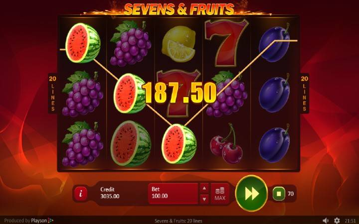 Alama za sloti ya Sevens & Fruits: 20 Lines